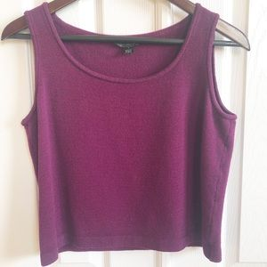St John Wool Blend Crop Tank Magenta Purple Small